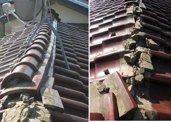 瓦棟部分の地震による破壊