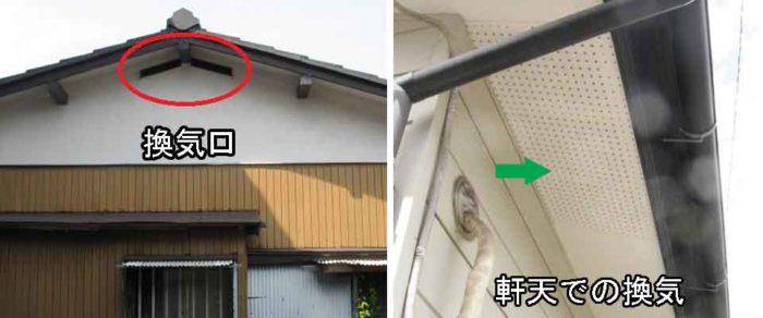 換気口と軒天の換気板