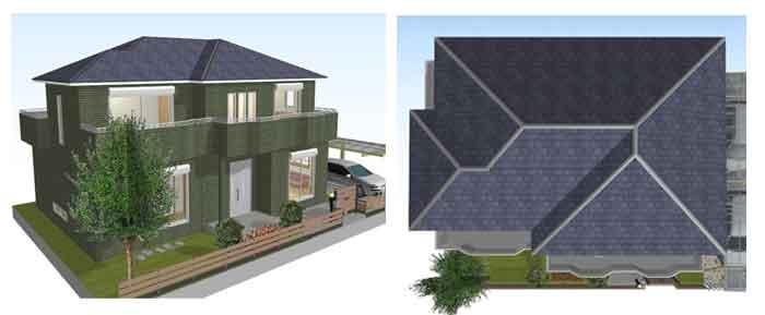 サンプルの屋根、100㎡2階建て
