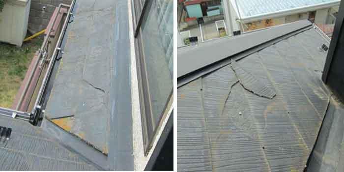 事例:スレート屋根、スレート割れ、欠け