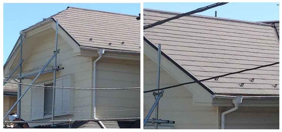 茶色のスレート屋根
