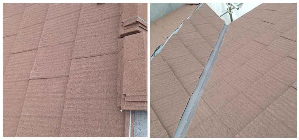 石粒付化粧鋼板 棟と谷