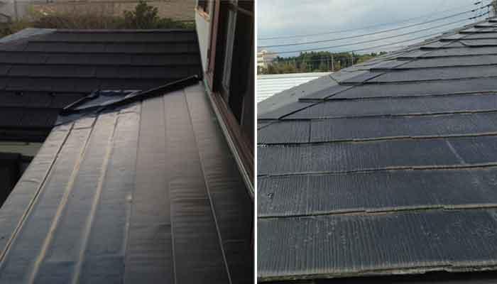 スレート屋根軒先の劣化