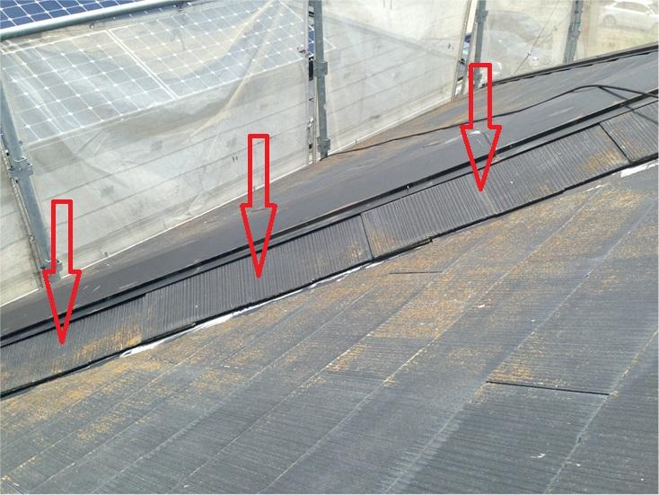棟直下のスレート材施工不良指摘