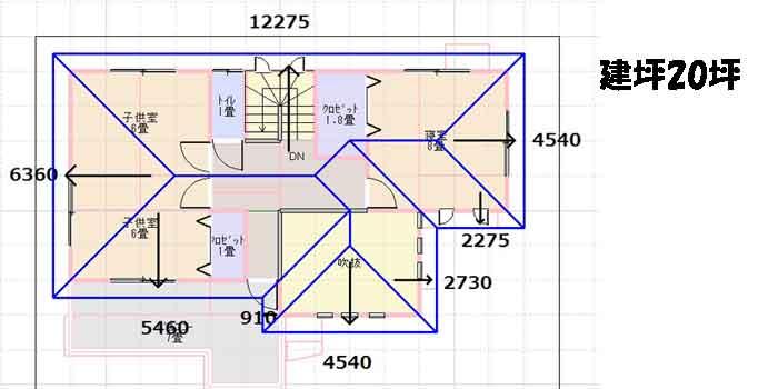 建坪20の屋根伏図