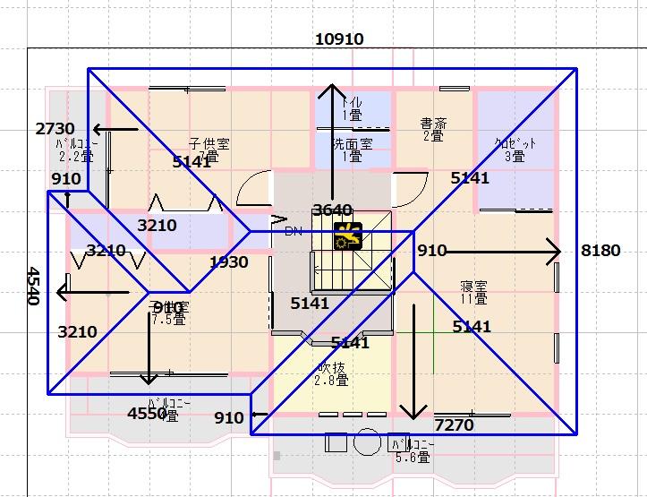 建坪25坪屋根伏図