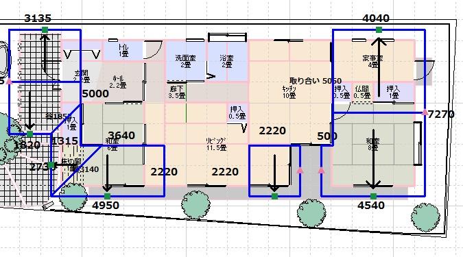 建坪30坪の屋根伏図