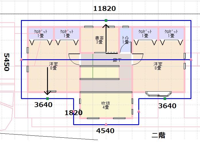 建坪30坪屋根伏図2階部分