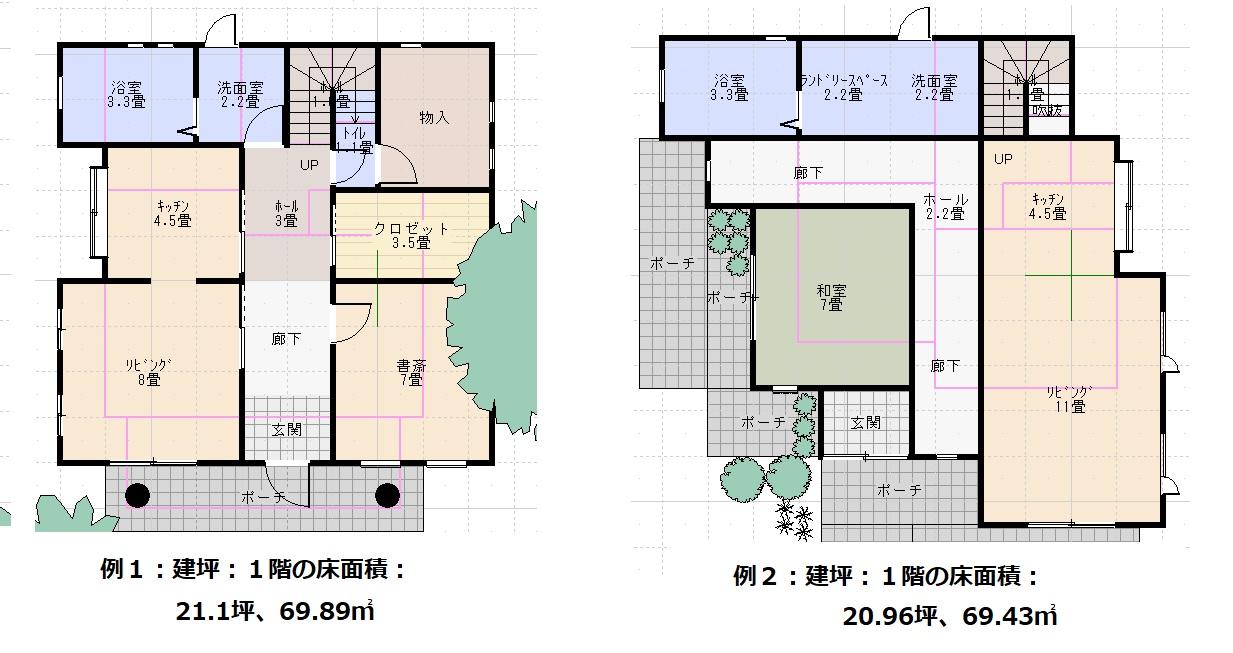 例1例2の屋根伏図
