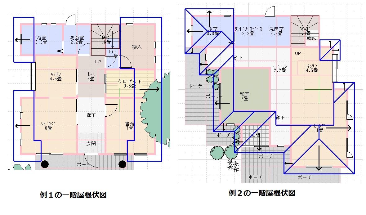 例1,2一階屋根伏図
