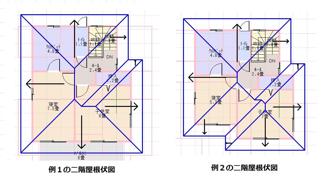 例1、2の二階屋根伏図