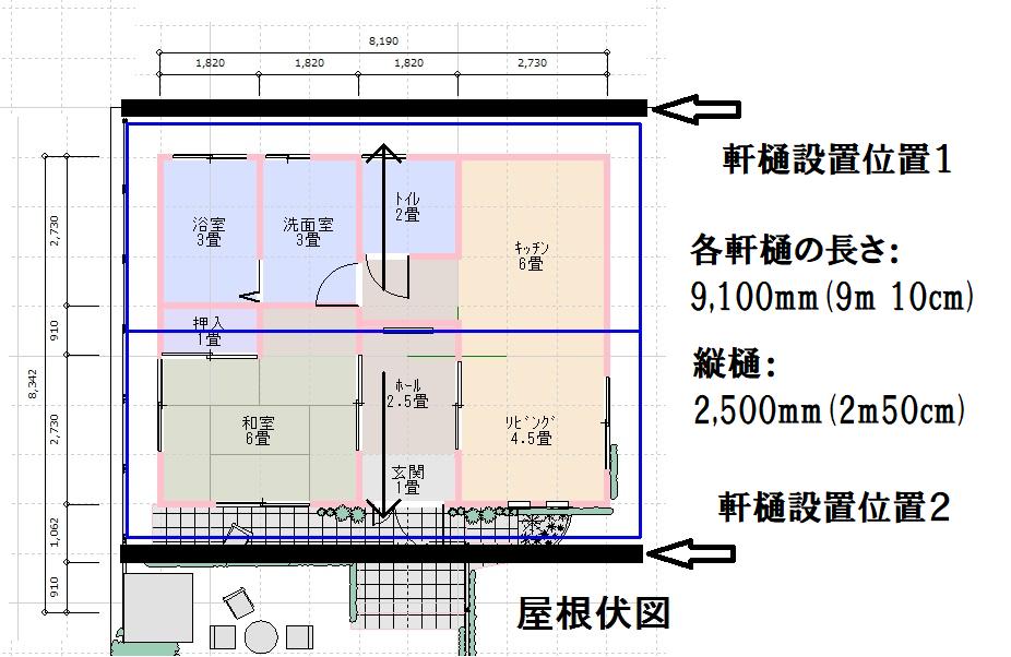 平屋屋根の雨樋設置図