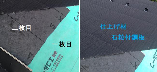 二重のルーフィング施工写真